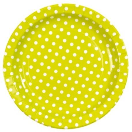 Assiettes Vert Anis Rondes A Pois Carton 23 cm les 10