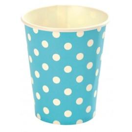 Gobelet en carton turquoise motif pois blanc