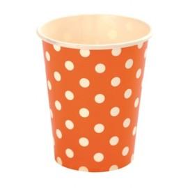 Gobelets Carton Orange A Pois Blanc les 10