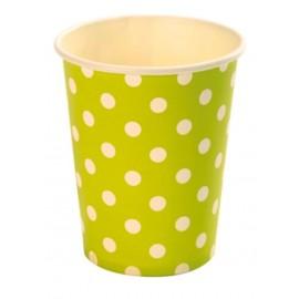 Gobelet carton vert anis pois blanc gobelet jetable