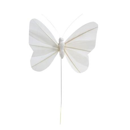 Papillon blanc en plume sur tige