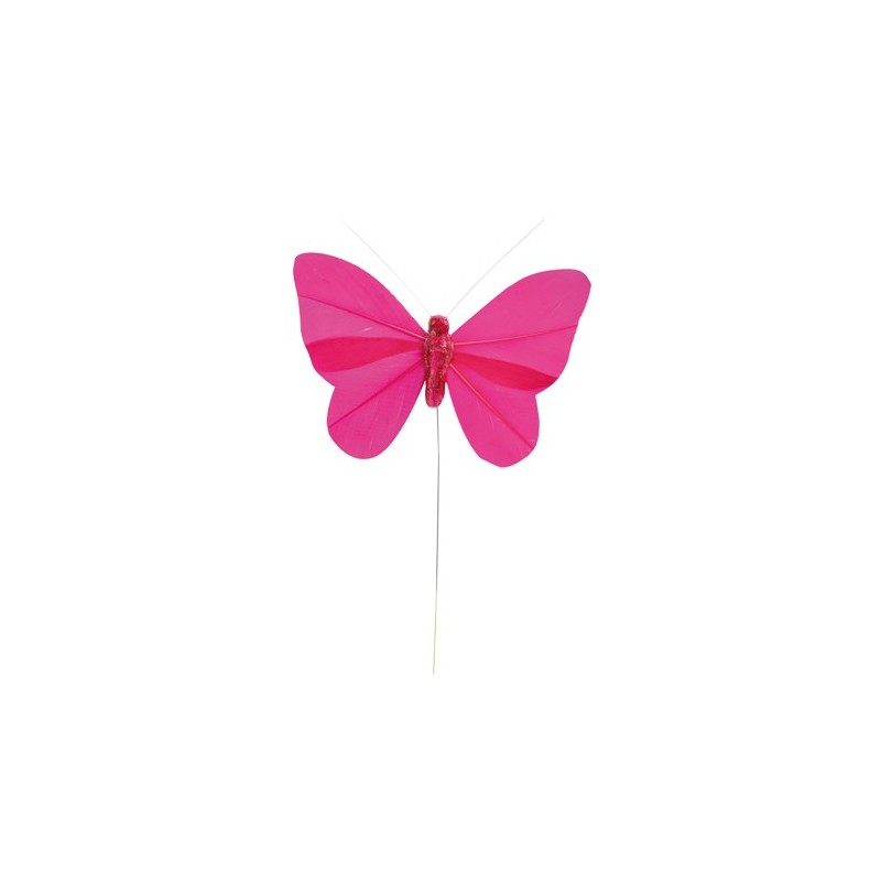 Papillon plume sur tige couleur unie les 6 - Papillon dessin couleur ...