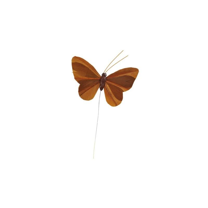 Papillon plume sur tige couleur unie les 6 - Papillon sur tige ...