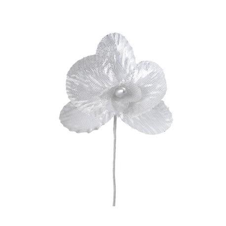 Orchidées Argent Métallisé sur tige les 6