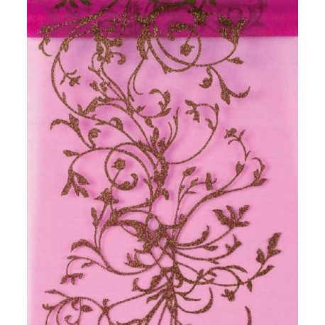 Chemin de table Orient Fuchsia chocolat organdi 5 M