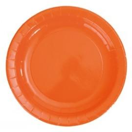 Assiette carton laque orange vaisselle jetable de fete