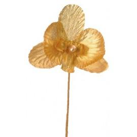 Orchidées Or Métallisé sur tige les 6