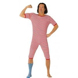 Deguisement baigneur maillot de bain rouge 1900 adulte