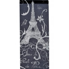 Chemin de table Paris en organdi noir