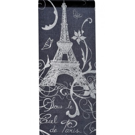 Chemin de table Paris en organdi noir