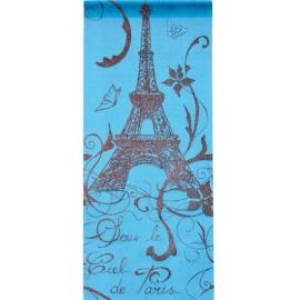 Chemin de table Paris turquoise en tissu organdi