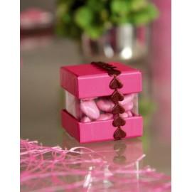 Boîtes à dragées cube couleur et transparent en carton les 6