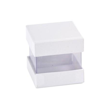 Boîte à dragées cube blanc et transparent les 6