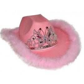 Chapeau Cowboy Rose Pink, Diadème et Boa Adulte