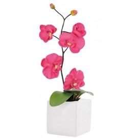 Orchidée Déco Fuschia en tissu avec Pot 43 cm