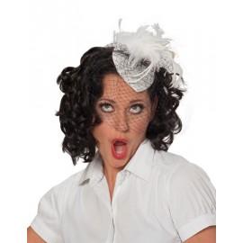 Mini Chapeau Blanc Chic Années 40 avec Voilette, Plumes