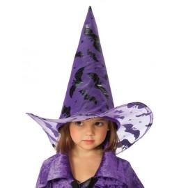 Chapeau de Sorcière violet Chauve souris noire enfant