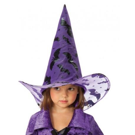 Chapeau sorciere violet chauve souris noire enfant