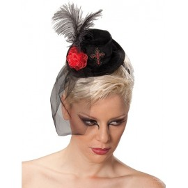 Mini Chapeau Haut de Forme Gothique Noir Avec Voile