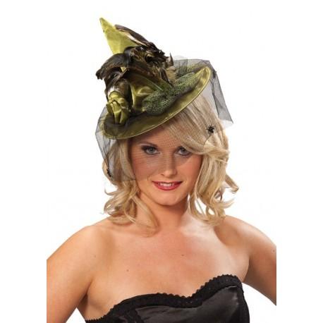 Mini Chapeau Sorcière Vert Deluxe avec Voilette Femme