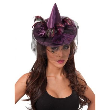 Mini Chapeau Sorcière Violet Deluxe avec Voilette Femme