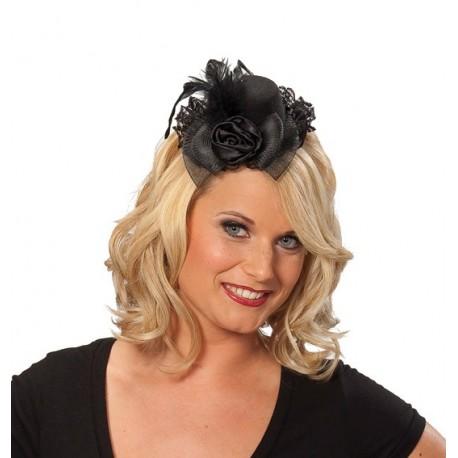 Mini chapeau de soiree noir avec dentelle noire femme
