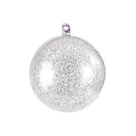 Boule transparente pailletee argent 5 cm