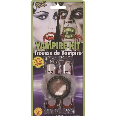 Kit maquillage vampire avec dents vampire phosphorescentes