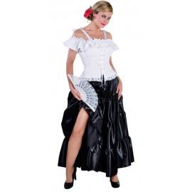 Deguisement jupe longue satin noir a volants Adulte
