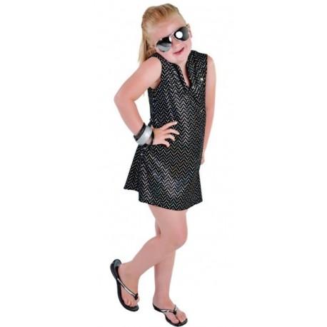 Déguisement disco noir à paillettes fille luxe
