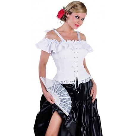 Déguisement Blouse Carmen Blanche Deluxe Femme