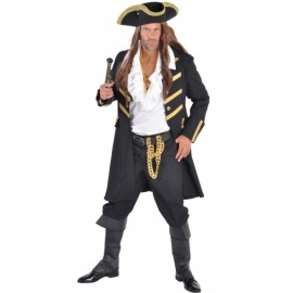 Déguisement manteau pirate noir homme