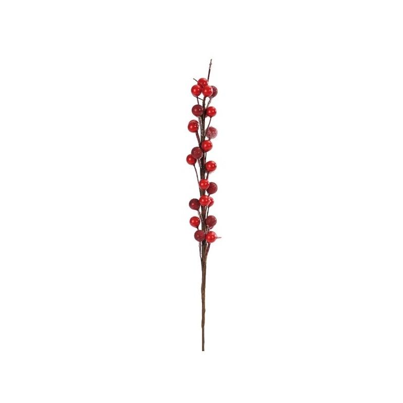 Branche De Decoration: Branche De Baies Rouges Givrées Artificielles 30 Cm