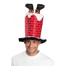 Chapeau Haut de Forme Père Noël dans la cheminée adulte