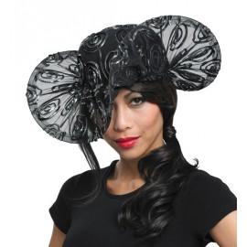 Chapeau de Soirée Tulle Noir Motifs Noir Argent Femme