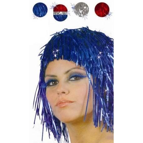 Perruque lamee disco tricolore rouge argent bleue