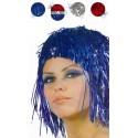 Perruque Lamée Disco Tricolore Rouge-Argent-Bleue
