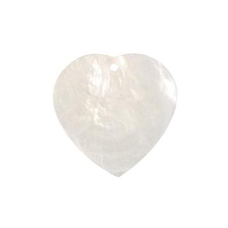 Marque Place Nacre Coeur Blanc 4 cm x 6