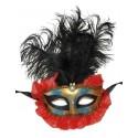 Masque Vénitien avec Plumes Noires, Organdi Rouge Adulte