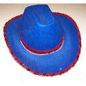 Chapeau Cow-boy Bleu A sequin Rouge Adulte