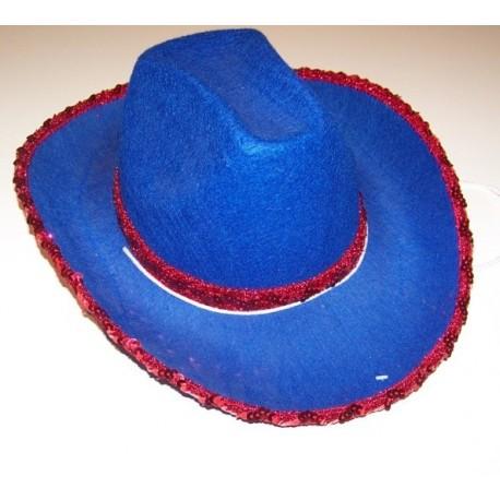 Chapeau cowboy bleu A sequin rouge adulte et enfant western