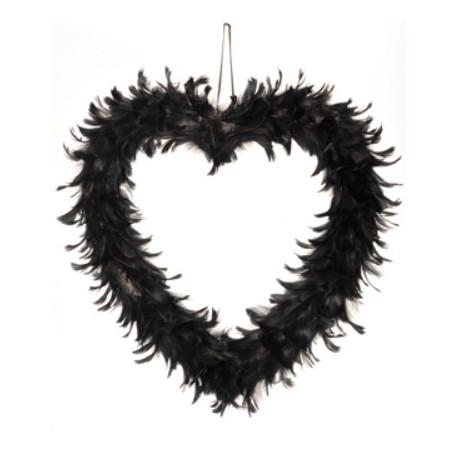 Coeur Noir en Plumes 38 cm de Décoration