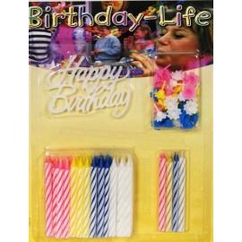 40 Bougies Anniversaire avec Bobèches et 1 Décoration