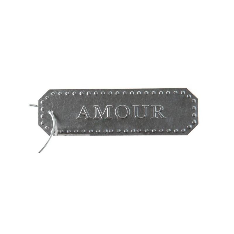 marque place etiquette amour m tal argent les 4. Black Bedroom Furniture Sets. Home Design Ideas