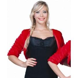 Deguisement Bolero Fausse Fourrure Rouge Fuzzy Femme