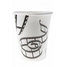 Gobelet Cinéma Carton Blanc Motif Pellicules de Film les 10