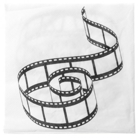 Serviette de table cin ma en papier blanc cass les 20 - Deco de table theme cinema ...