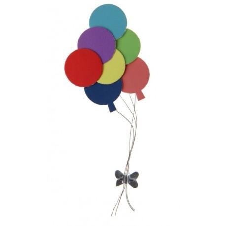 Ballons Multicolores Autocollants en metal 10 cm les 2 Deco