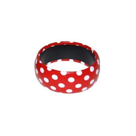 Bracelet rouge pois blanc accessoire annees 50 60 Bijou