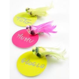 Oiseaux Vert Anis en Plumes sur Pince 6.5 cm les 4